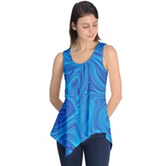 Blue Abstract Pattern Art Shape Sleeveless Tunic