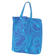 Blue Abstract Pattern Art Shape Giant Grocery Tote