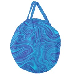Blue Abstract Pattern Art Shape Giant Round Zipper Tote