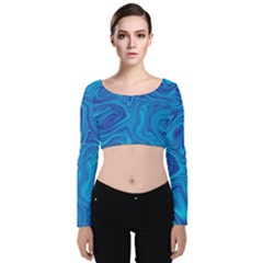 Blue Abstract Pattern Art Shape Velvet Long Sleeve Crop Top