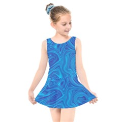 Blue Abstract Pattern Art Shape Kids  Skater Dress Swimsuit