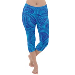 Blue Abstract Pattern Art Shape Lightweight Velour Capri Yoga Leggings