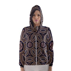 Pattern Decoration Abstract Hooded Windbreaker (women)