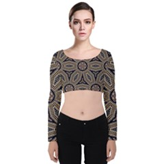 Pattern Decoration Abstract Velvet Long Sleeve Crop Top by Nexatart