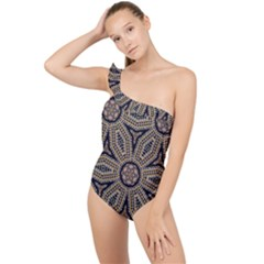 Pattern Decoration Abstract Frilly One Shoulder Swimsuit by Nexatart