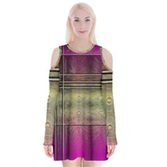 Abstract Desktop Pattern Wallpaper Velvet Long Sleeve Shoulder Cutout Dress by Nexatart
