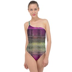 Abstract Desktop Pattern Wallpaper Classic One Shoulder Swimsuit