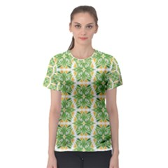 Pattern Abstract Decoration Flower Women s Sport Mesh Tee