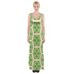 Pattern Abstract Decoration Flower Maxi Thigh Split Dress