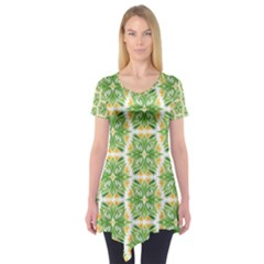Pattern Abstract Decoration Flower Short Sleeve Tunic