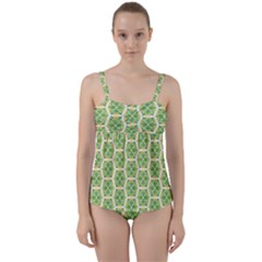 Pattern Abstract Decoration Flower Twist Front Tankini Set