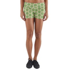 Pattern Abstract Decoration Flower Lightweight Velour Yoga Shorts