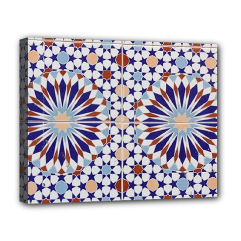 Morocco Essaouira Tile Pattern Deluxe Canvas 20  X 16  (stretched)