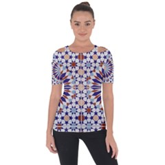 Morocco Essaouira Tile Pattern Shoulder Cut Out Short Sleeve Top