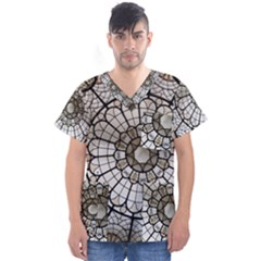 Pattern Abstract Structure Art Men s V Neck Scrub Top