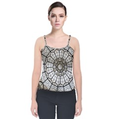 Pattern Abstract Structure Art Velvet Spaghetti Strap Top