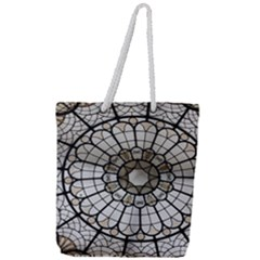 Pattern Abstract Structure Art Full Print Rope Handle Tote (large)
