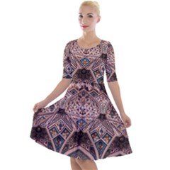 Pattern Decoration Art Architecture Quarter Sleeve A-line Dress by Nexatart