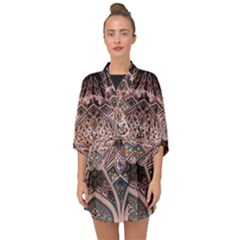 Pattern Decoration Art Architecture Half Sleeve Chiffon Kimono