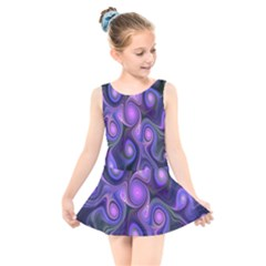 Abstract Pattern Fractal Wallpaper Kids  Skater Dress Swimsuit