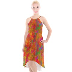 Abstract Pattern Art Canvas High Low Halter Chiffon Dress