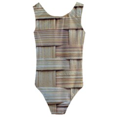 Wicker Model Texture Craft Braided Kids  Cut Out Back One Piece Swimsuit