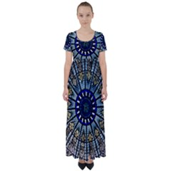 Pattern Art Form Architecture High Waist Short Sleeve Maxi Dress