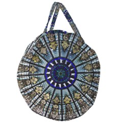 Pattern Art Form Architecture Giant Round Zipper Tote