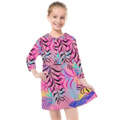 Illustration Reason Leaves Design Kids  Quarter Sleeve Shirt Dress