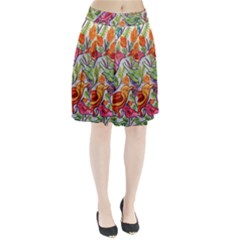Art Flower Pattern Background Pleated Skirt