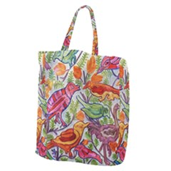 Art Flower Pattern Background Giant Grocery Tote
