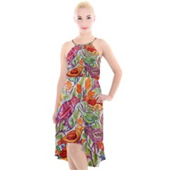 Art Flower Pattern Background High-low Halter Chiffon Dress  by Nexatart