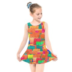 Pattern Texture Background Color Kids  Skater Dress Swimsuit