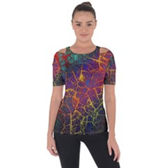 Background Desktop Pattern Abstract Shoulder Cut Out Short Sleeve Top