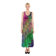 Background Abstract Art Color Sleeveless Maxi Dress