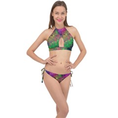 Background Abstract Art Color Cross Front Halter Bikini Set