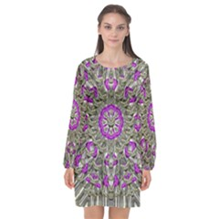 Love On The Sea Of Love In Peace Long Sleeve Chiffon Shift Dress