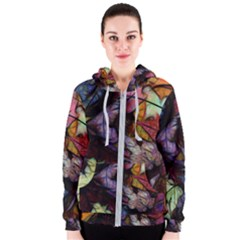 Fall Leaves Abstract Women s Zipper Hoodie by bloomingvinedesign
