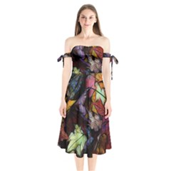 Fall Leaves Abstract Shoulder Tie Bardot Midi Dress by bloomingvinedesign