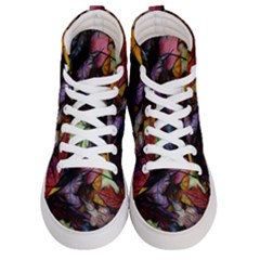 Fall Leaves Abstract Women s Hi Top Skate Sneakers
