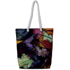 Fall Leaves Abstract Full Print Rope Handle Tote (small)