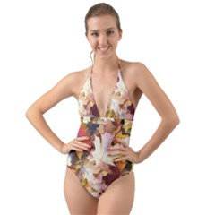Fall Leaves Bright Halter Cut Out One Piece Swimsuit
