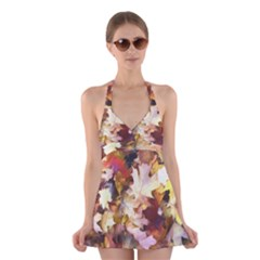 Fall Leaves Bright Halter Dress Swimsuit  by bloomingvinedesign