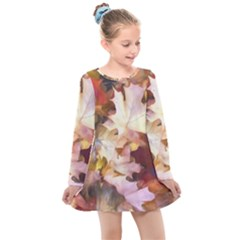 Fall Leaves Bright Kids  Long Sleeve Dress by bloomingvinedesign