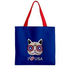 Cat I Love Usa Zipper Grocery Tote Bag by Wanni