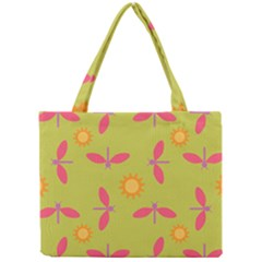 Dragonfly Sun Flower Seamlessly Mini Tote Bag by Nexatart