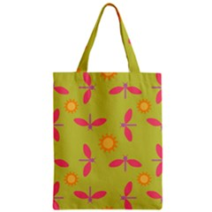 Dragonfly Sun Flower Seamlessly Zipper Classic Tote Bag