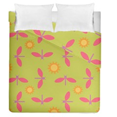 Dragonfly Sun Flower Seamlessly Duvet Cover Double Side (queen Size)
