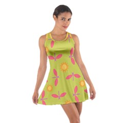 Dragonfly Sun Flower Seamlessly Cotton Racerback Dress