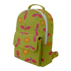 Dragonfly Sun Flower Seamlessly Flap Pocket Backpack (large) by Nexatart